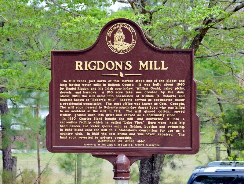 Rigdon's Mill (Side 1) image. Click for full size.