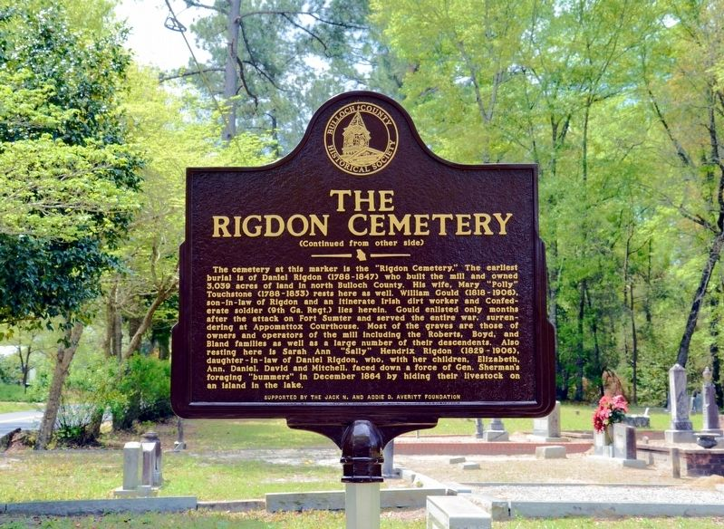 The Rigdon Cemetery Marker (Side 2) image. Click for full size.