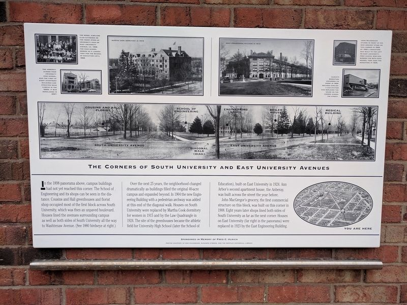The Corners of South University and East University Avenues Marker image. Click for full size.
