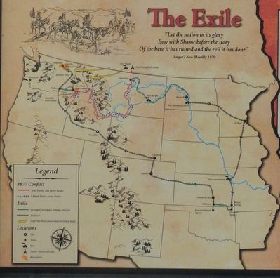The Nez Perce Conflict of 1877 panel detail: The Exile map image. Click for full size.