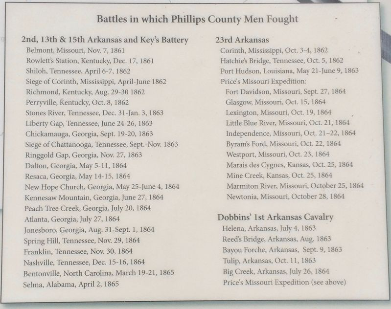List of Battles in which Phillips County Men Fought. image. Click for full size.