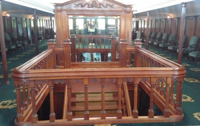 Sidewheel Steamboat <i>Ticonderoga</i> Salon Deck Stairway image. Click for full size.