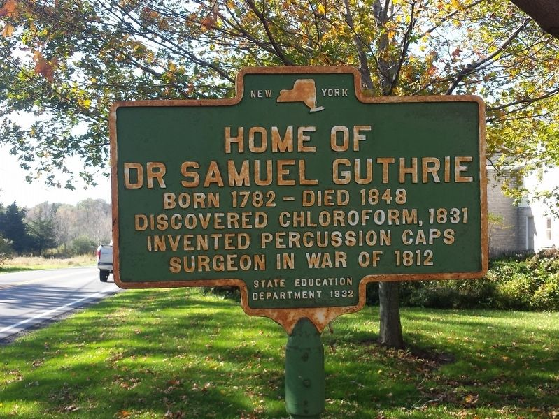 Home of Dr. Samuel Guthrie Marker image. Click for full size.