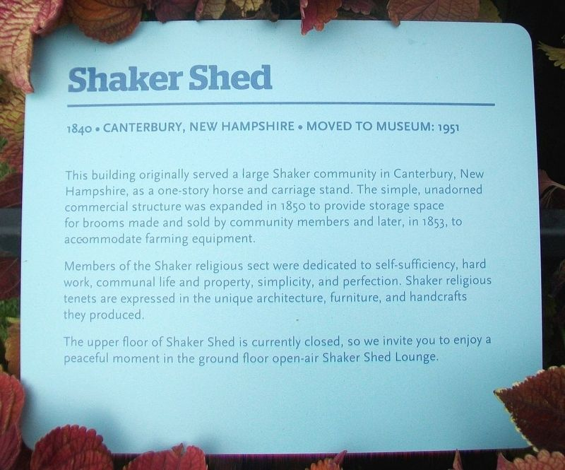 Shaker Shed Marker image. Click for full size.