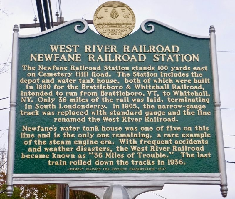 West River Railroad Newfane Railroad Station Marker image. Click for full size.