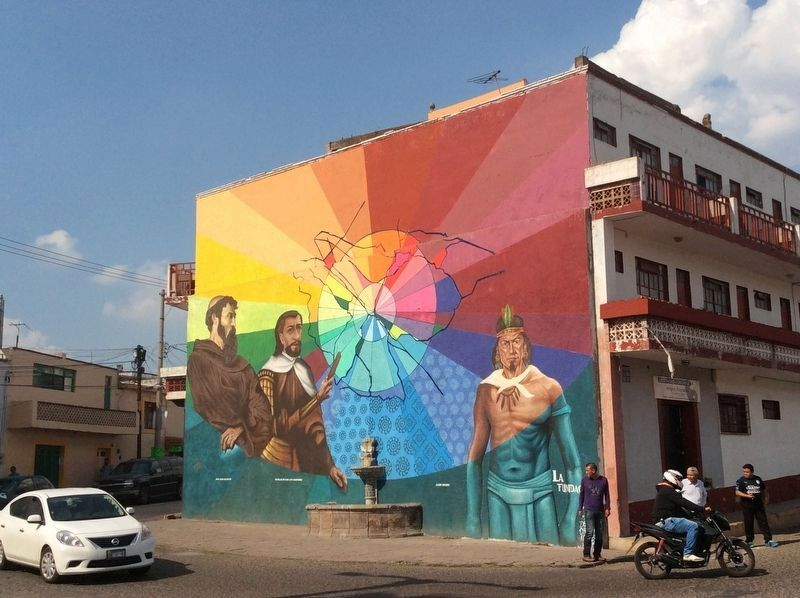 A mural of the Founders of San Juan del Río image. Click for full size.