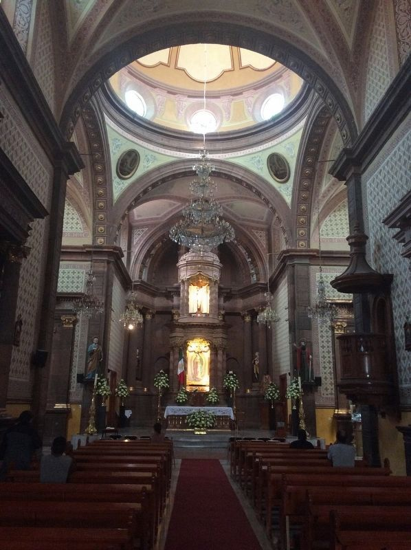 The interior of the Sanctuary of Our Lady of Guadalupe image. Click for full size.