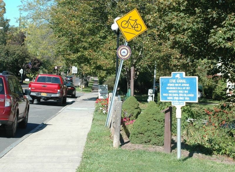 Erie Canal marker on the east side of North Main Street in Jordan image. Click for full size.