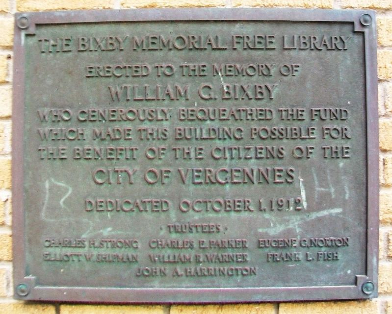 The Bixby Memorial Free Library Marker image. Click for full size.