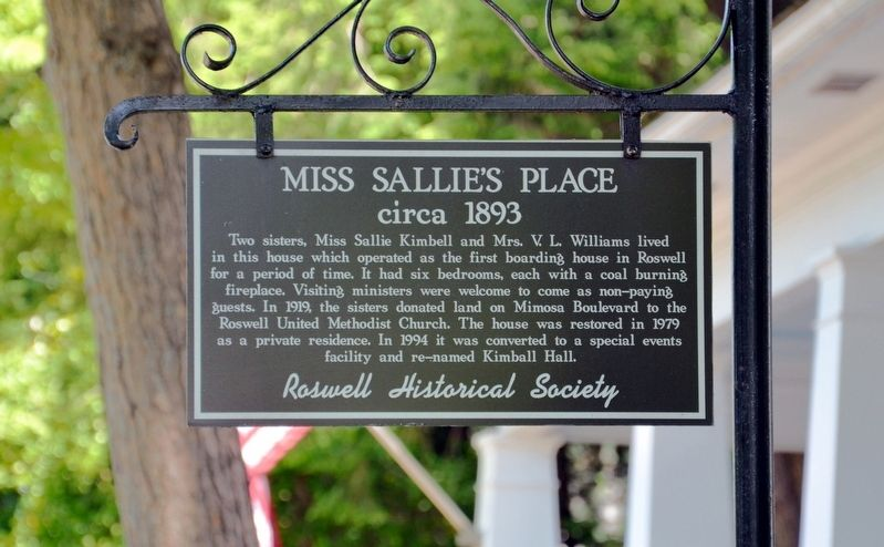 Miss Sallie's Place Marker image. Click for full size.