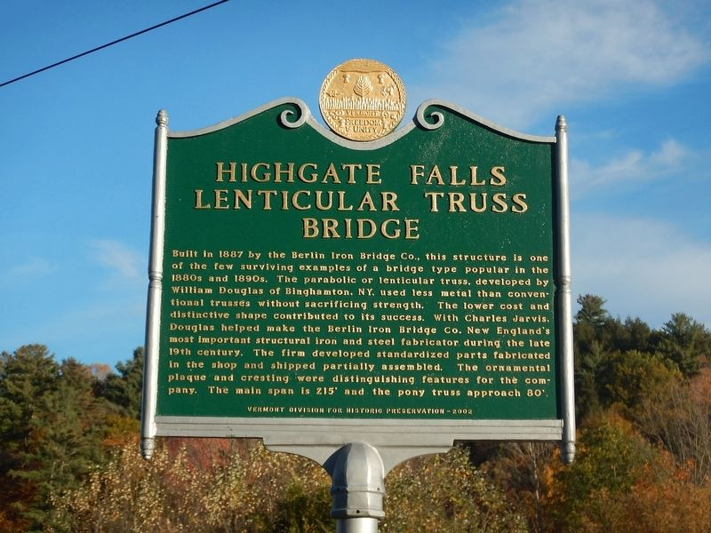 Highgate Falls Lenticular Truss Bridge Marker image. Click for full size.