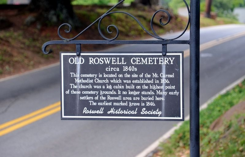 Old Roswell Cemetery Marker image. Click for full size.