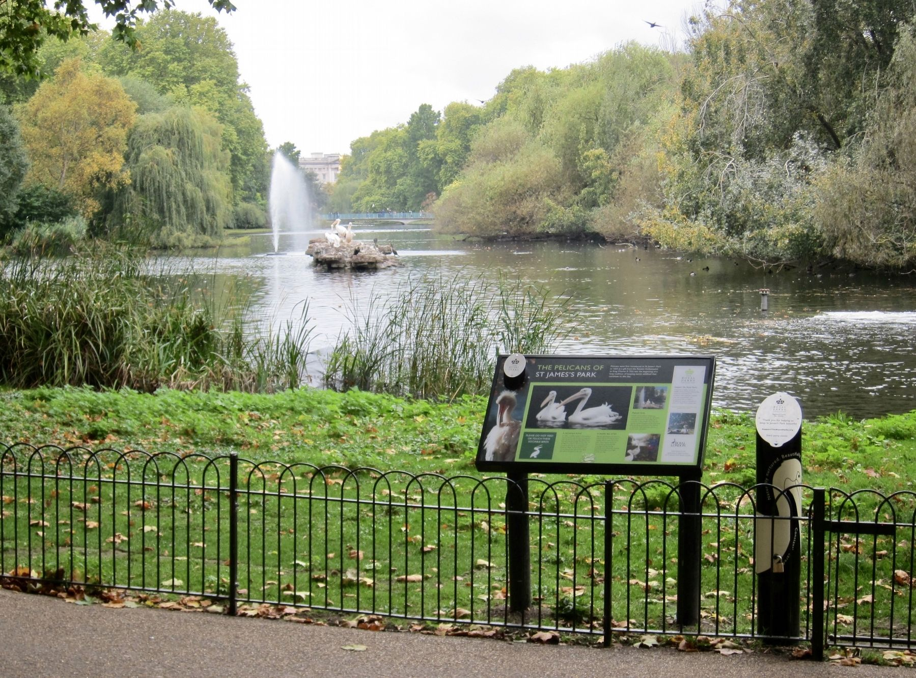The Pelicans of St Jame's Park Marker - Wide View image. Click for full size.