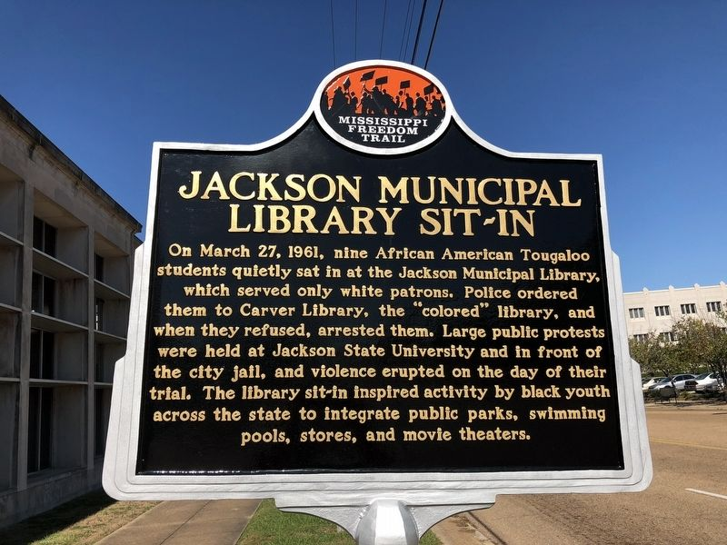 Jackson Municipal Library Sit-In Marker (front) image. Click for full size.