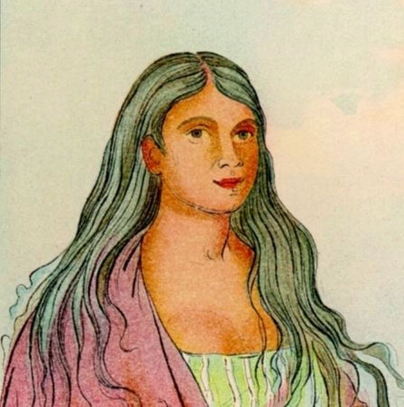 Another image of Ah-hee-te-wáh-chee, Cherokee woman image. Click for full size.