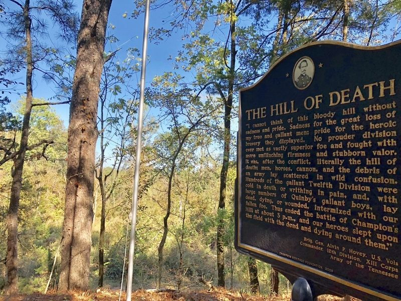 The Hill of Death Marker looking north. image. Click for full size.