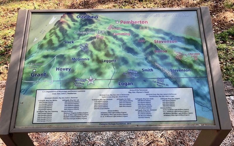 Map showing Union & Confederate troop placements at Champion Hill battlefield. image. Click for full size.
