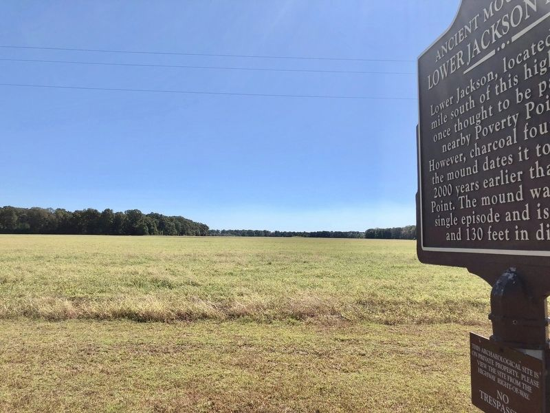 Marker with mound in distance. image. Click for full size.