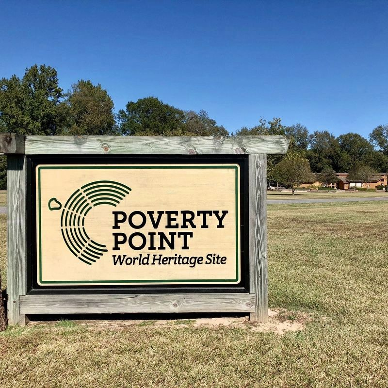 Poverty Point World Heritage Site entrance, with museum in background. image. Click for full size.