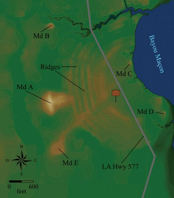 Poverty Point Earthworks map image. Click for full size.