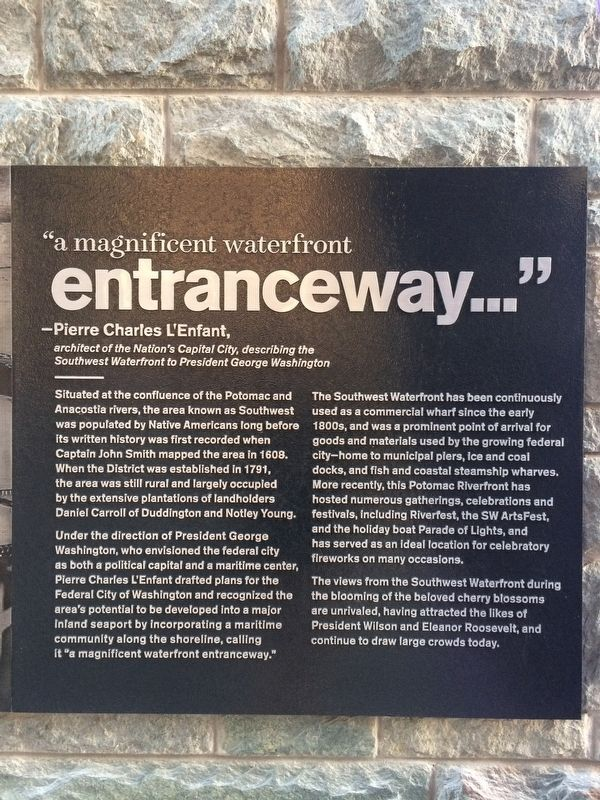 """a magnificent waterfront entranceway..."" Marker image. Click for full size."