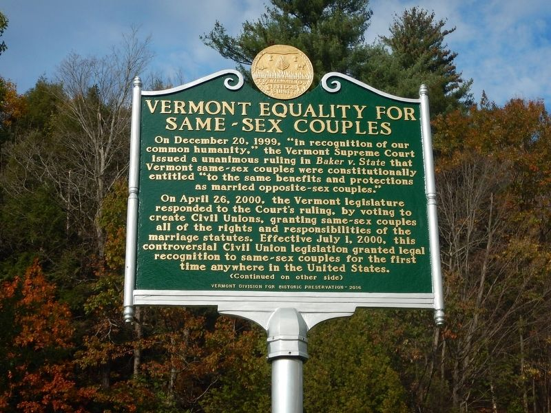 Vermont Equality For Same-Sex Couples Marker image. Click for full size.