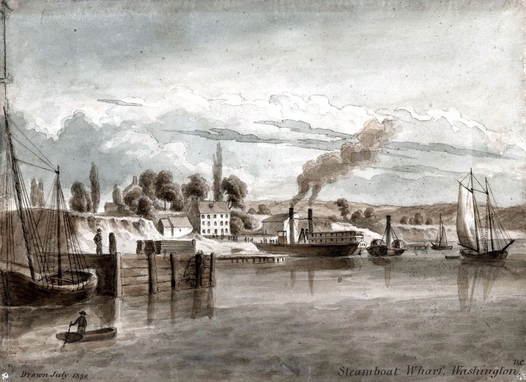 Steamboat Wharf, Washington, D.C.<br>Drawn July 1839 image. Click for full size.