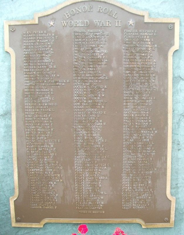 Veterans Memorial Park WWII Honor Roll image. Click for full size.