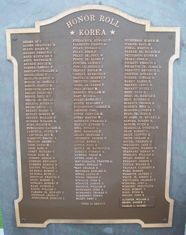 Veterans Memorial Park Korea Honor Roll image. Click for full size.