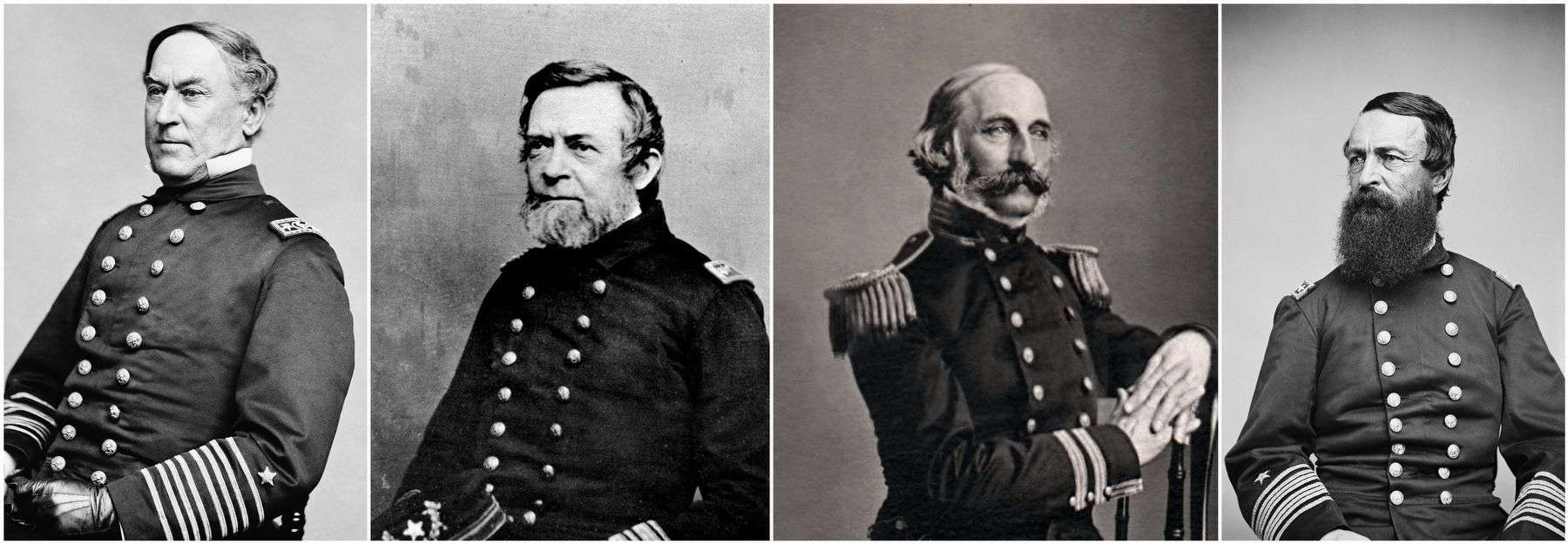 Admirals (left to right): David G. Farragut, Andrew H. Foote, Charles H. Davis & David D. Porter. image. Click for full size.