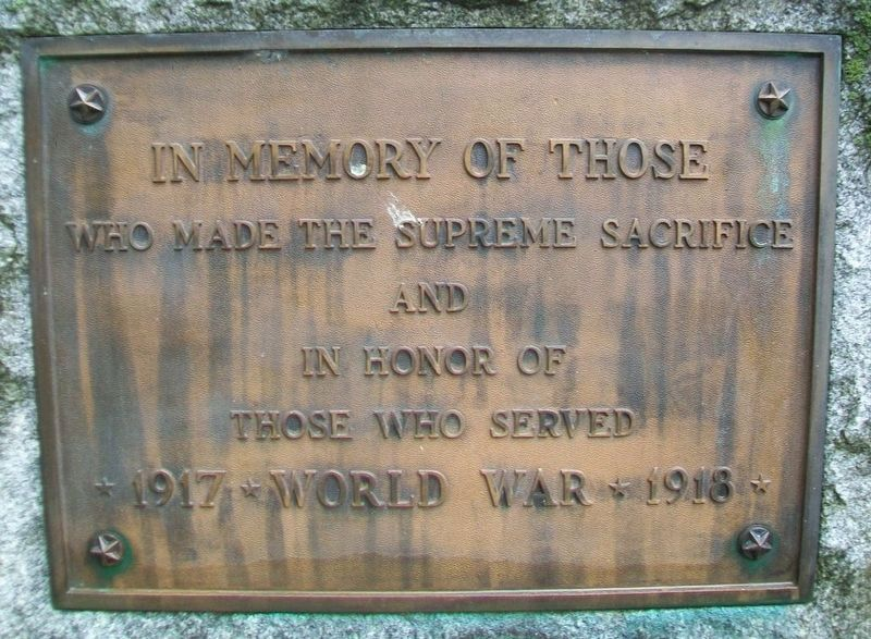 World War Memorial Marker image. Click for full size.