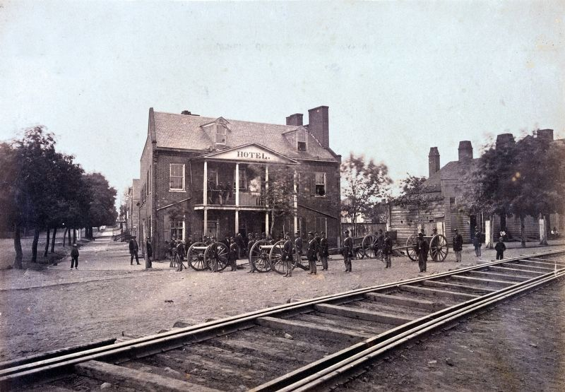 Union Troops in front of the Hotel at the Long Bridge image. Click for full size.