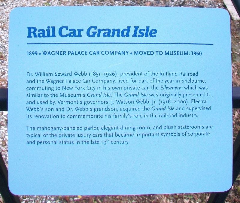 Rail Car <i>Grand Isle</i> Marker image. Click for full size.