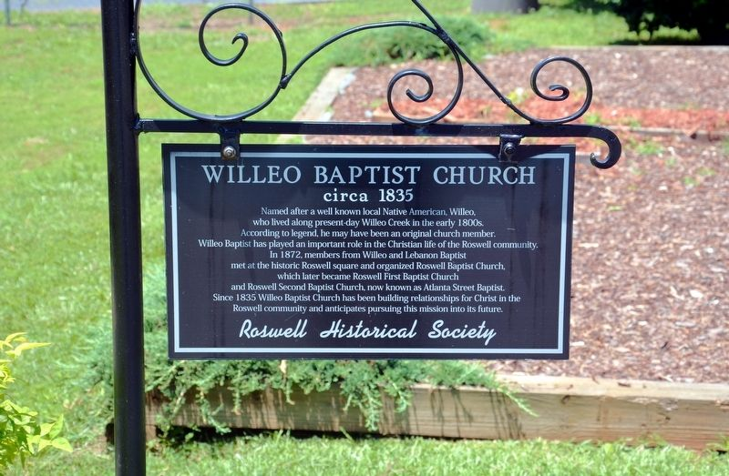 Willeo Baptist Church Marker image. Click for full size.