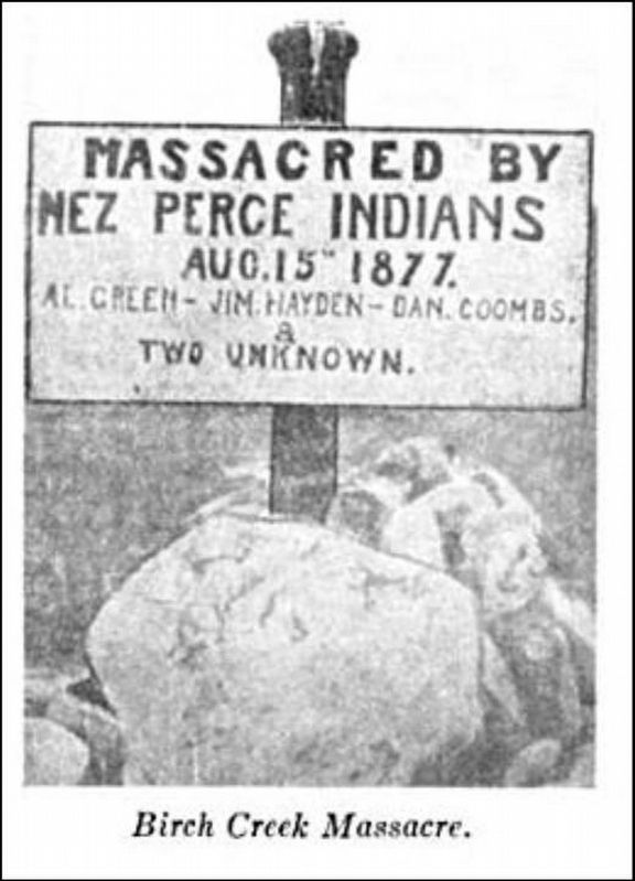 Massacred by Nez Perce Marker, first marker image. Click for full size.