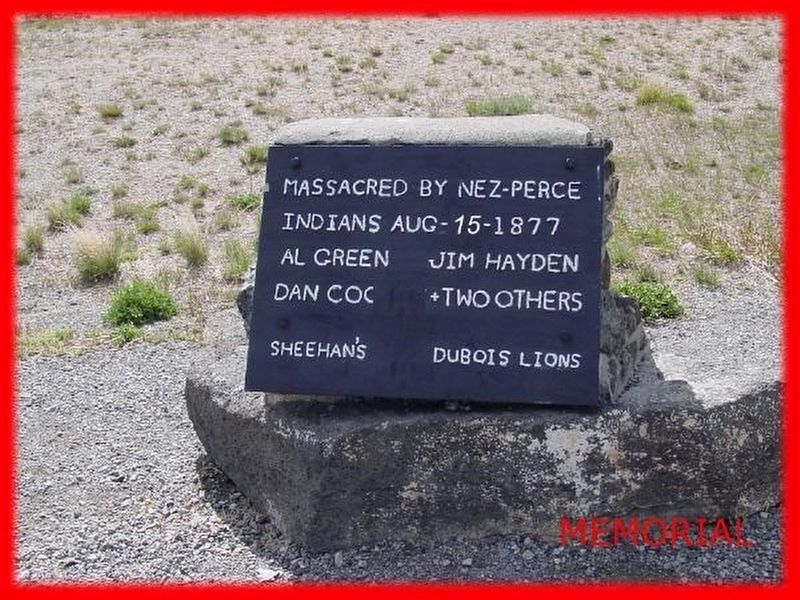 Massacred by Nez Perce Marker, second marker image. Click for full size.