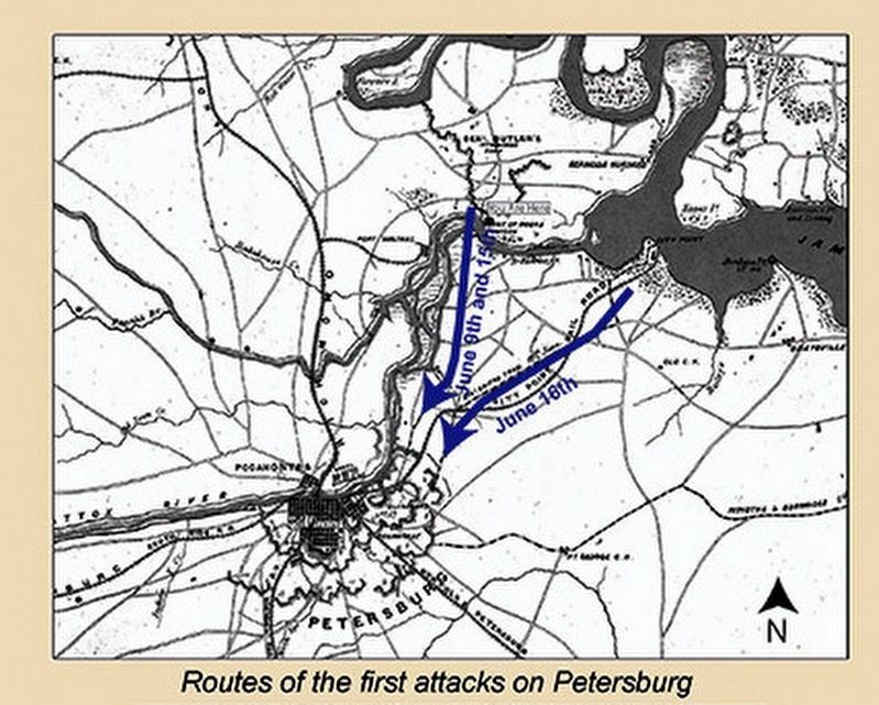 Routes of the first attacks on Petersburg image. Click for full size.