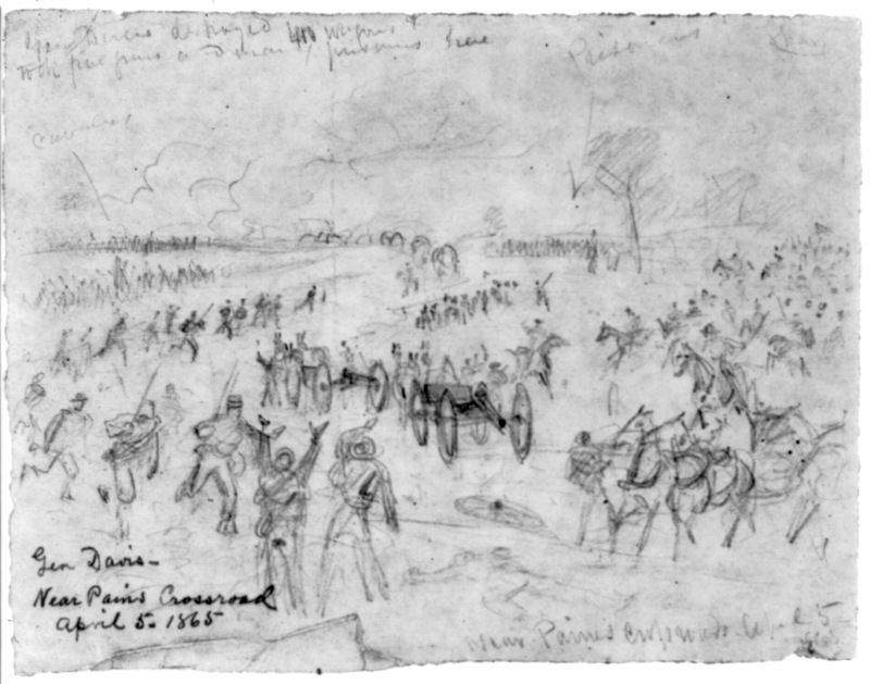Confederate wagon train being captured by Federal cavalry under the command of Gen. Henry Davies image. Click for full size.