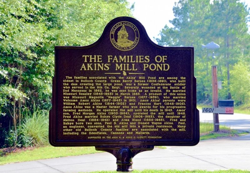 The Families of Akins' Mill Pond Marker image. Click for full size.