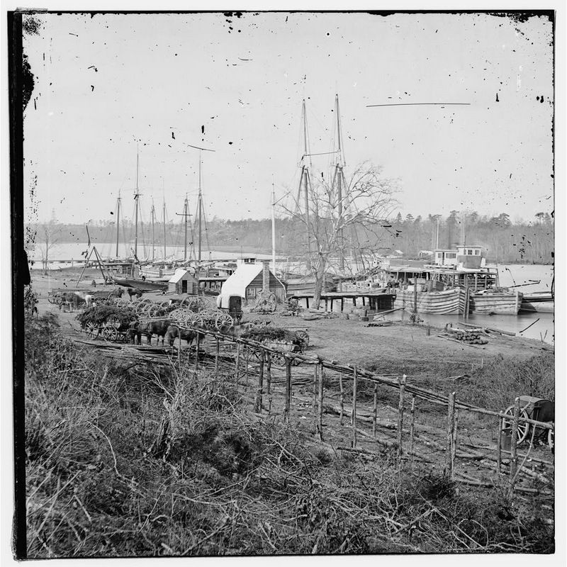 Docks with transports [Broadway Landing, Appomattox River, Virginia] image. Click for full size.