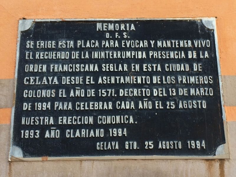 The First Franciscans in Celaya Marker image. Click for full size.