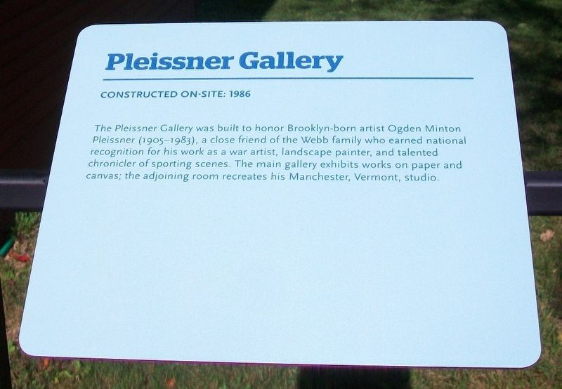 Pleissner Gallery Marker image. Click for full size.