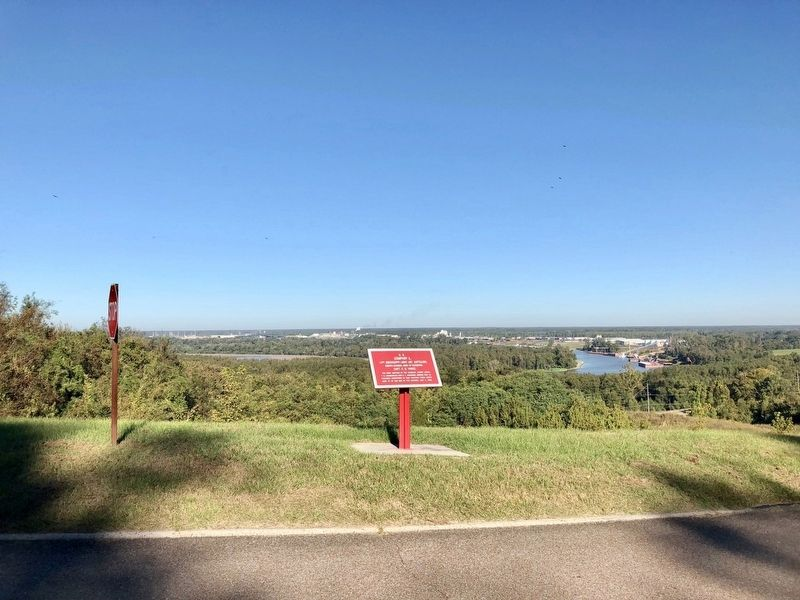 View of marker overlooking the Yazoo River below. image. Click for full size.