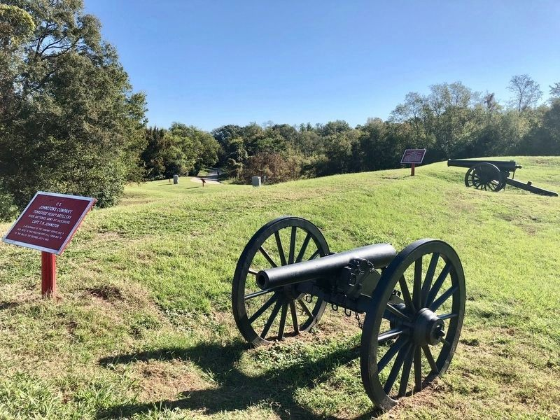 Marker and 3-inch rifle atop Fort Hill. image. Click for full size.