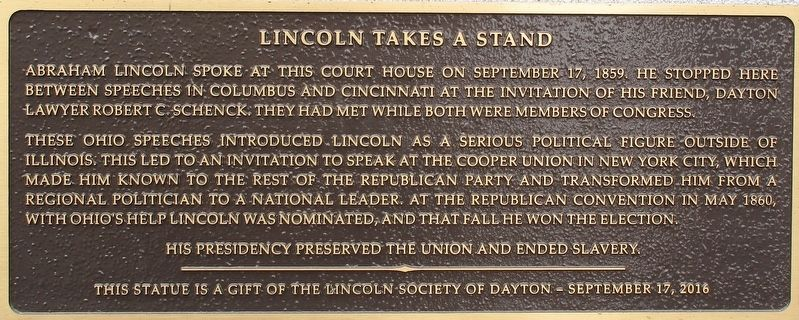 Lincoln Takes a Stand Marker image. Click for full size.
