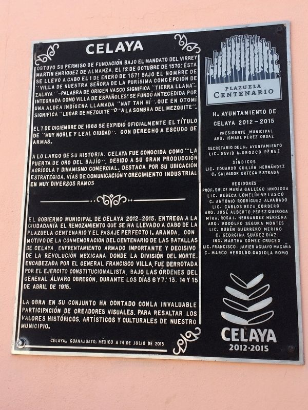 The History of Celaya Marker image. Click for full size.