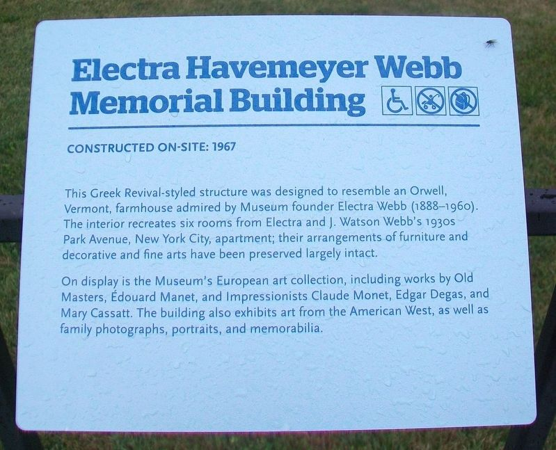 Electra Havemeyer Webb Memorial Building Marker image. Click for full size.