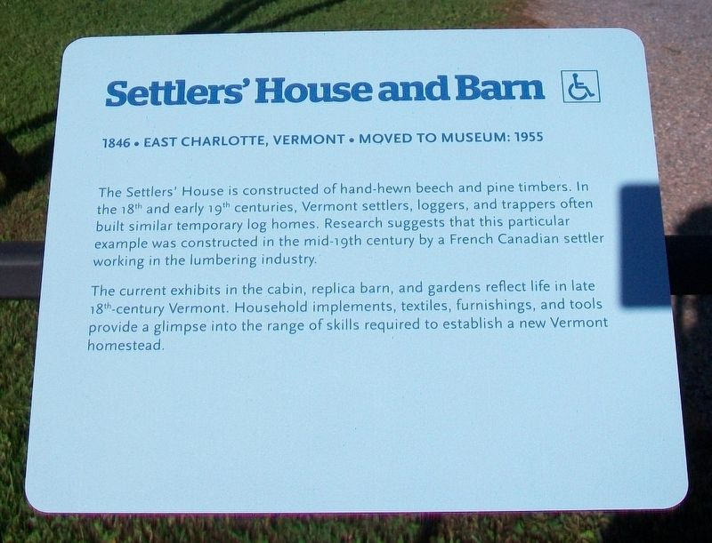 Settlers' House and Barn Marker image. Click for full size.