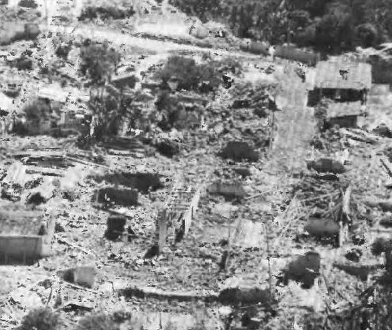 Destruction of the nearby town of Tecpán in 1976. image. Click for full size.