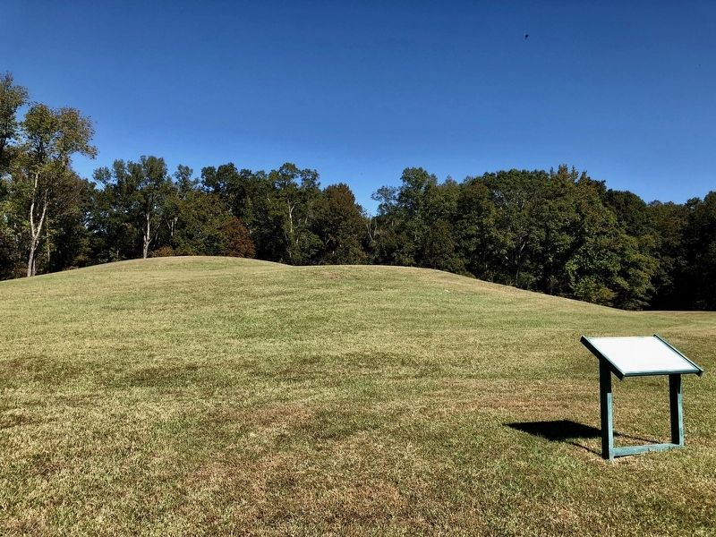 View of marker with Mound B in the background. image. Click for full size.